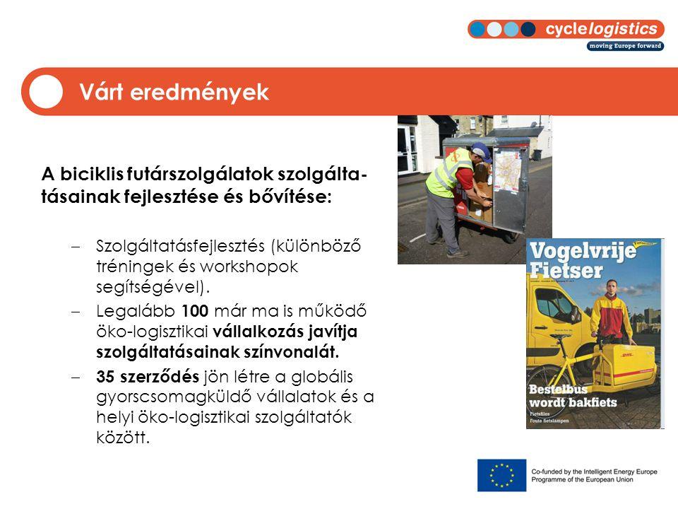 Várt eredmények A biciklis futárszolgálatok szolgálta- tásainak fejlesztése és bővítése:  Szolgáltatásfejlesztés (különböző tréningek és workshopok s