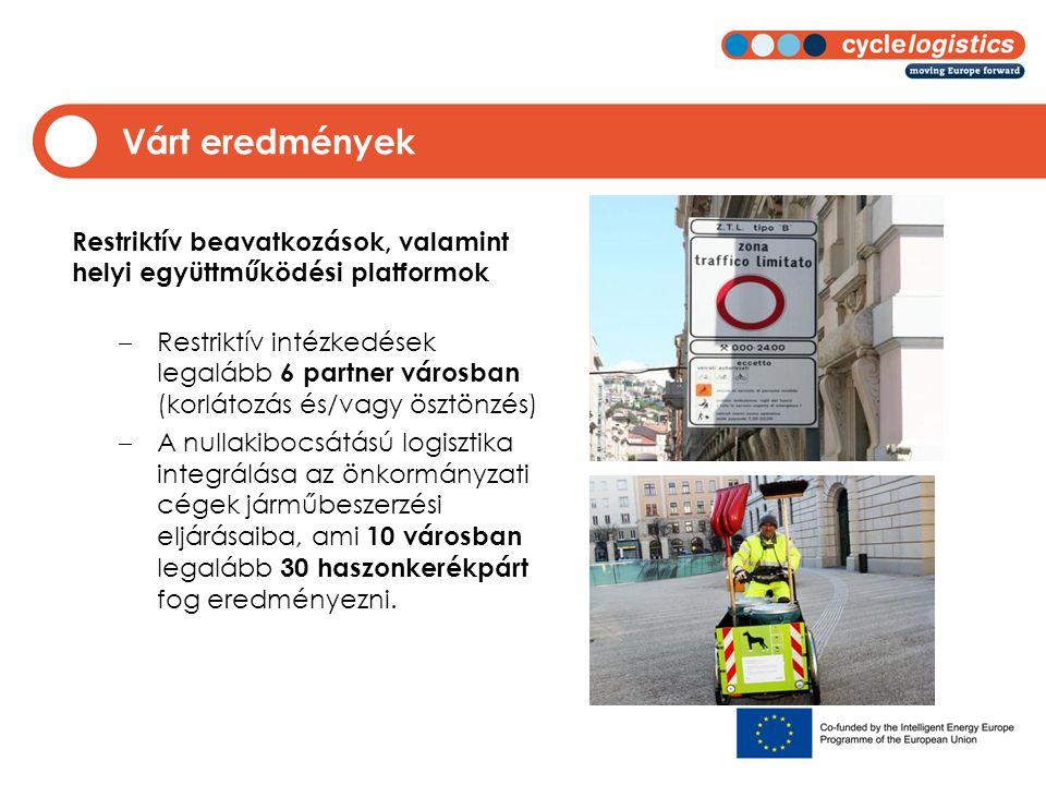Várt eredmények Restriktív beavatkozások, valamint helyi együttműködési platformok  Restriktív intézkedések legalább 6 partner városban (korlátozás é