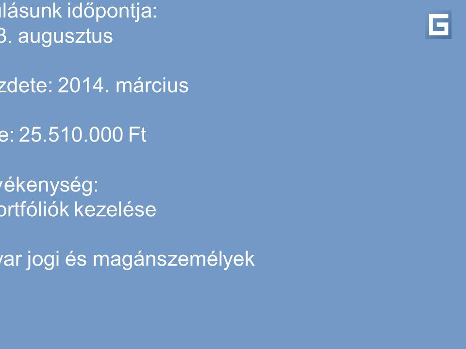 Megalakulásunk időpontja: 2013. augusztus Működés kezdete: 2014. március Alaptőke: 25.510.000 Ft Tevékenység: egyéni portfóliók kezelése Tulajdonosok: