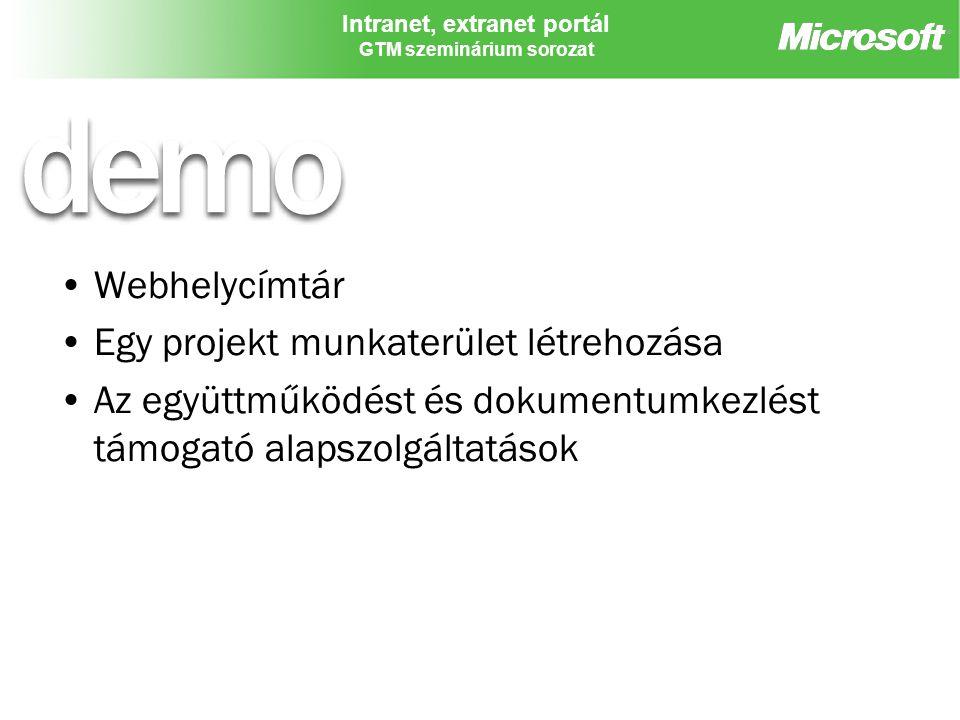 Intranet, extranet portál GTM szeminárium sorozat Webhelycímtár Egy projekt munkaterület létrehozása Az együttműködést és dokumentumkezlést támogató a