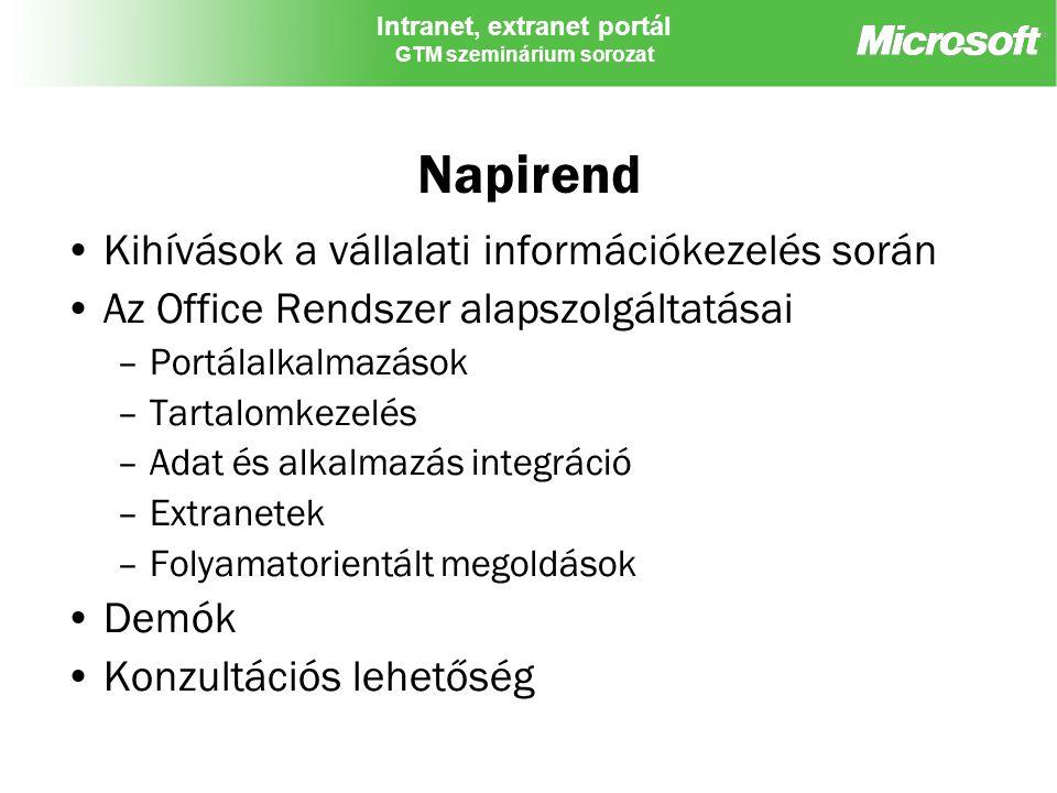 Intranet, extranet portál GTM szeminárium sorozat Napirend Kihívások a vállalati információkezelés során Az Office Rendszer alapszolgáltatásai –Portál