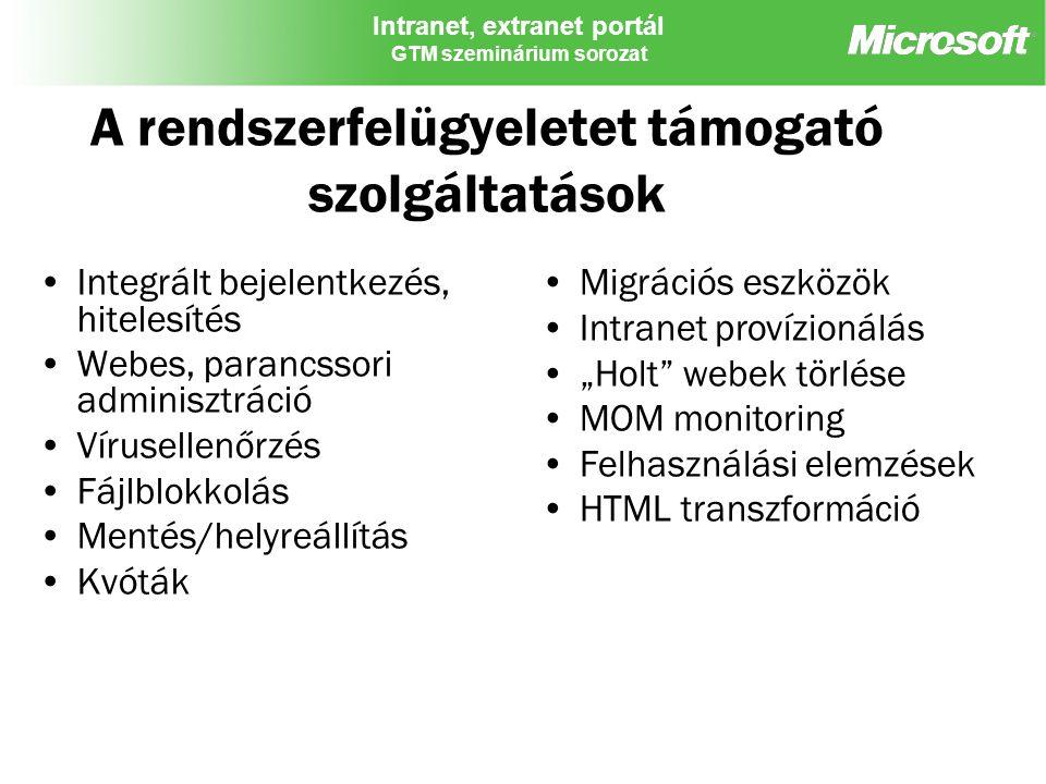Intranet, extranet portál GTM szeminárium sorozat A rendszerfelügyeletet támogató szolgáltatások Integrált bejelentkezés, hitelesítés Webes, parancsso