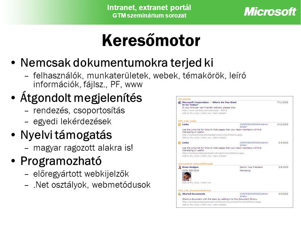 Intranet, extranet portál GTM szeminárium sorozat Keresőmotor Nemcsak dokumentumokra terjed ki –felhasználók, munkaterületek, webek, témakörök, leíró