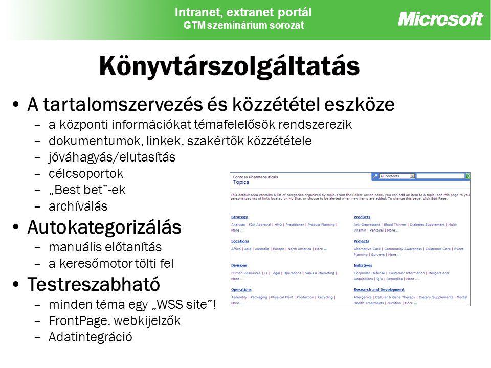 Intranet, extranet portál GTM szeminárium sorozat Könyvtárszolgáltatás A tartalomszervezés és közzététel eszköze –a központi információkat témafelelős