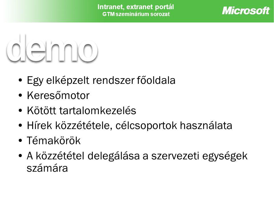 """Intranet, extranet portál GTM szeminárium sorozat A rendszerfelügyeletet támogató szolgáltatások Integrált bejelentkezés, hitelesítés Webes, parancssori adminisztráció Vírusellenőrzés Fájlblokkolás Mentés/helyreállítás Kvóták Migrációs eszközök Intranet provízionálás """"Holt webek törlése MOM monitoring Felhasználási elemzések HTML transzformáció"""