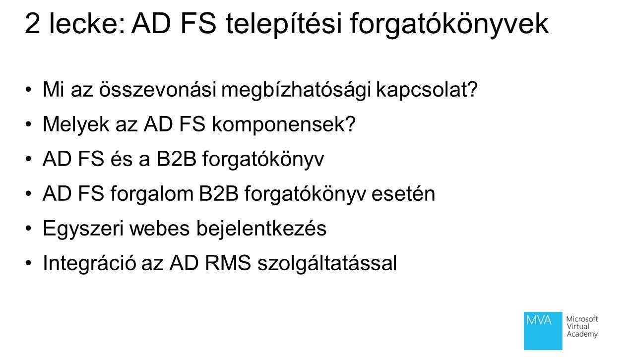 Federált megbízhatósági kapcsolat Web Server Alkalmazást elérő cég Alkalmazás tulajdonosa Alkamazás szerver Federált felhasználók AD DS Megbízhatósági kapcsolat