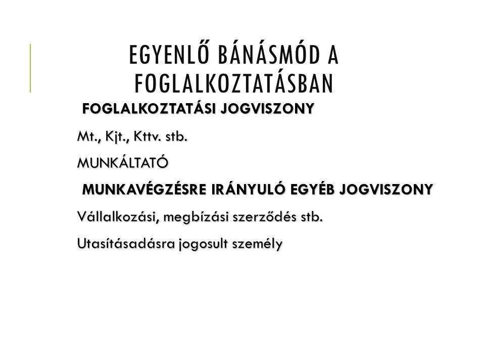 EGYENLŐ BÁNÁSMÓD A FOGLALKOZTATÁSBAN FOGLALKOZTATÁSI JOGVISZONY FOGLALKOZTATÁSI JOGVISZONY Mt., Kjt., Kttv.