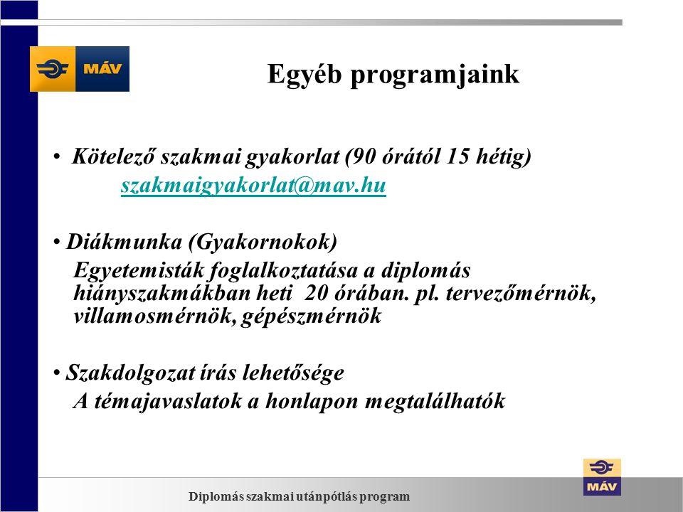 Egyéb programjaink Kötelező szakmai gyakorlat (90 órától 15 hétig) szakmaigyakorlat@mav.hu Diákmunka (Gyakornokok) Egyetemisták foglalkoztatása a diplomás hiányszakmákban heti 20 órában.