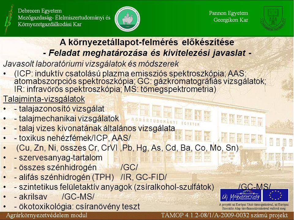 Javasolt laboratóriumi vizsgálatok és módszerek (ICP: induktív csatolású plazma emissziós spektroszkópia; AAS: atomabszorpciós spektroszkópia; GC: gázkromatográfiás vizsgálatok; IR: infravörös spektroszkópia; MS: tömegspektrometria) Talajminta-vizsgálatok - talajazonosító vizsgálat - talajmechanikai vizsgálatok - talaj vizes kivonatának általános vizsgálata - toxikus nehézfémek/ICP, AAS/ (Cu, Zn, Ni, összes Cr, CrVI,Pb, Hg, As, Cd, Ba, Co, Mo, Sn) - szervesanyag-tartalom - összes szénhidrogén/GC/ - alifás szénhidrogén (TPH)/IR, GC-FID/ - szintetikus felületaktív anyagok (zsíralkohol-szulfátok)/GC-MS/ - akrilsav/GC-MS/ - ökotoxikológia: csíranövény teszt A környezetállapot-felmérés előkészítése - Feladat meghatározása és kivitelezési javaslat -