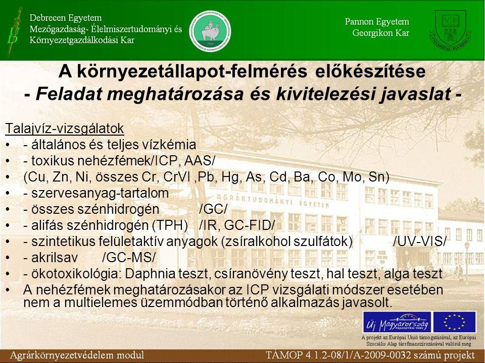 Talajvíz-vizsgálatok - általános és teljes vízkémia - toxikus nehézfémek/ICP, AAS/ (Cu, Zn, Ni, összes Cr, CrVI,Pb, Hg, As, Cd, Ba, Co, Mo, Sn) - szervesanyag-tartalom - összes szénhidrogén/GC/ - alifás szénhidrogén (TPH)/IR, GC-FID/ - szintetikus felületaktív anyagok (zsíralkohol szulfátok)/UV-VIS/ - akrilsav/GC-MS/ - ökotoxikológia: Daphnia teszt, csíranövény teszt, hal teszt, alga teszt A nehézfémek meghatározásakor az ICP vizsgálati módszer esetében nem a multielemes üzemmódban történő alkalmazás javasolt.