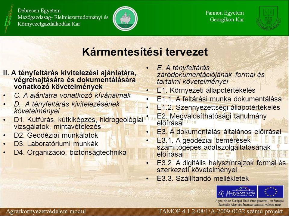 Kármentesítési tervezet II.