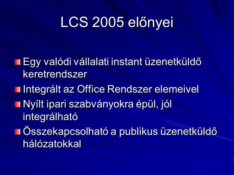 LCS 2005 alapszolgáltatásai BiztonságFelügyeletKiterjesztés Külső kapcsolatok Rendelkezésre állás Tiltólisták, személyes kapcsolatok az AD-benTiltólisták, személyes kapcsolatok az AD-ben Transport Layer Security titkosítás (szerver-szerver, szerver-kliens)Transport Layer Security titkosítás (szerver-szerver, szerver-kliens) Audio/Video titkosítás (RTP/LCP)Audio/Video titkosítás (RTP/LCP) Kerberos/NTLM alapú kliens hitelesítésKerberos/NTLM alapú kliens hitelesítés Intelligent Message Filter, archíválásIntelligent Message Filter, archíválás A teljes konfiguráció az AD-ben (lásd.