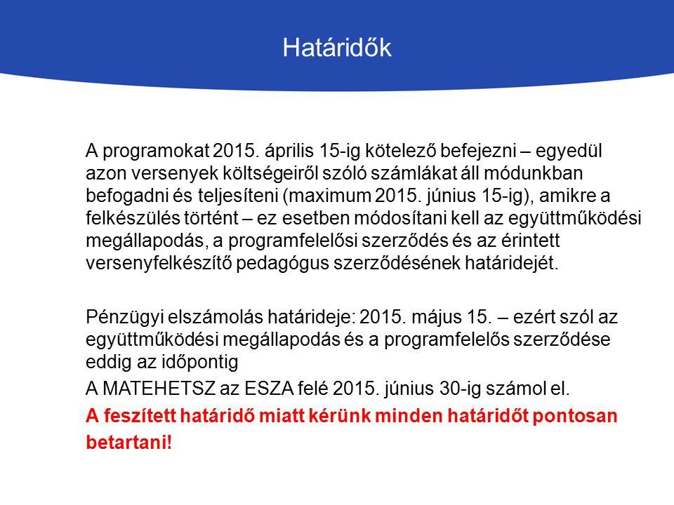 Határidők A programokat 2015. április 15-ig kötelező befejezni – egyedül azon versenyek költségeiről szóló számlákat áll módunkban befogadni és teljes