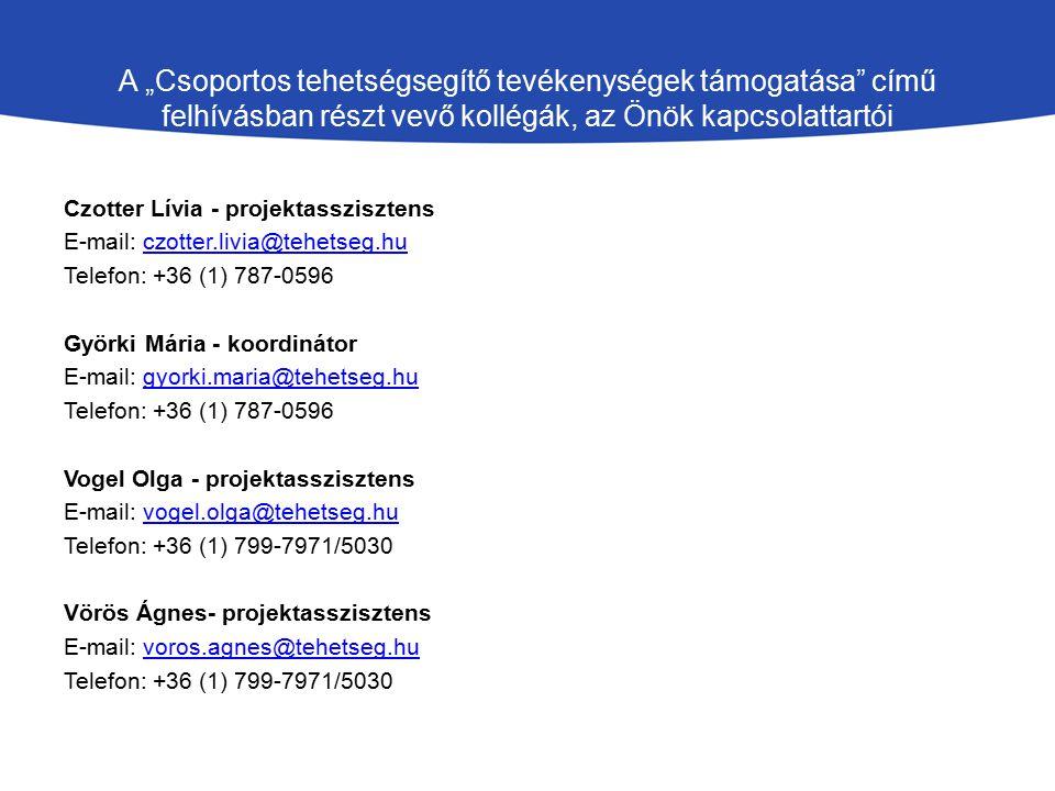 """A """"Csoportos tehetségsegítő tevékenységek támogatása című felhívásban részt vevő kollégák, az Önök kapcsolattartói Czotter Lívia - projektasszisztens E-mail: czotter.livia@tehetseg.huczotter.livia@tehetseg.hu Telefon: +36 (1) 787-0596 Györki Mária - koordinátor E-mail: gyorki.maria@tehetseg.hugyorki.maria@tehetseg.hu Telefon: +36 (1) 787-0596 Vogel Olga - projektasszisztens E-mail: vogel.olga@tehetseg.huvogel.olga@tehetseg.hu Telefon: +36 (1) 799-7971/5030 Vörös Ágnes- projektasszisztens E-mail: voros.agnes@tehetseg.huvoros.agnes@tehetseg.hu Telefon: +36 (1) 799-7971/5030"""
