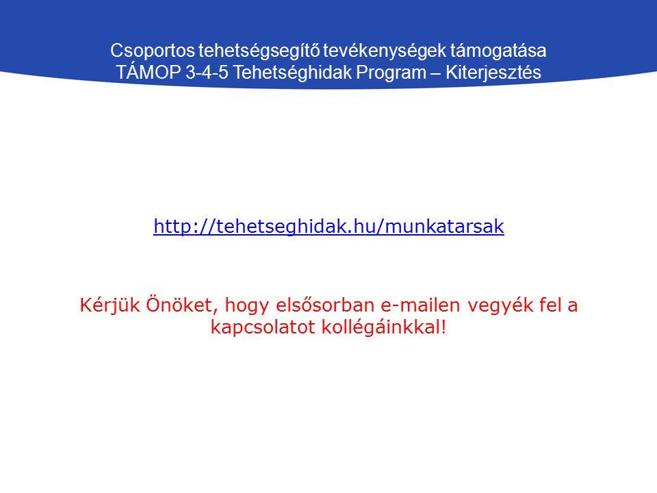 Csoportos tehetségsegítő tevékenységek támogatása TÁMOP 3-4-5 Tehetséghidak Program – Kiterjesztés http://tehetseghidak.hu/munkatarsak Kérjük Önöket, hogy elsősorban e-mailen vegyék fel a kapcsolatot kollégáinkkal!