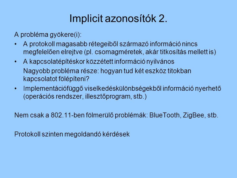 A probléma gyökere(i): A protokoll magasabb rétegeiből származó információ nincs megfelelően elrejtve (pl.