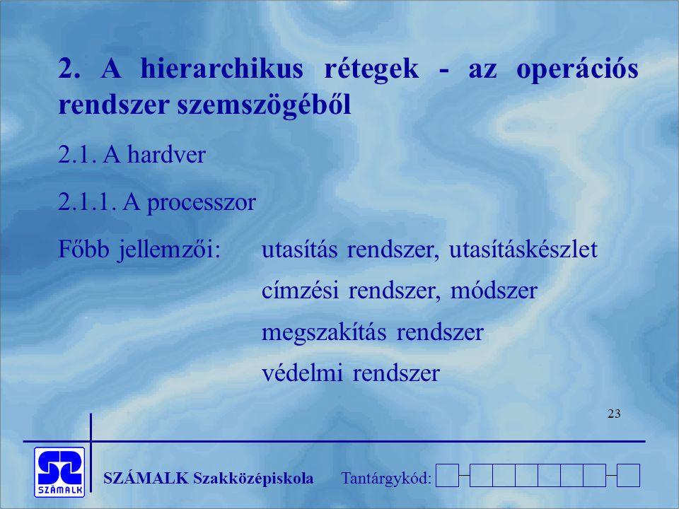 SZÁMALK SzakközépiskolaTantárgykód: 23 2. A hierarchikus rétegek - az operációs rendszer szemszögéből 2.1. A hardver 2.1.1. A processzor Főbb jellemző