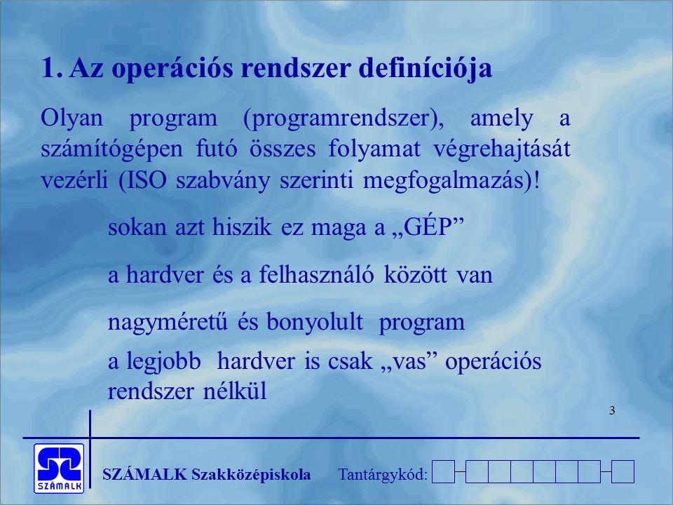 SZÁMALK SzakközépiskolaTantárgykód: 24 2.1.2 Utasítás rendszer Utasításkészlet: azon utasítások, melyeket a CPU végre tud hajtani 1,2,3 vagy esetleg 0 operandusú gépi utasítások, Felépítése: műveleti kód + operandusok (adatok, regiszterek, de el is maradhat) CISC: komplex utasításkészletű processzor RISC: szűkített utasításkészletű processzor