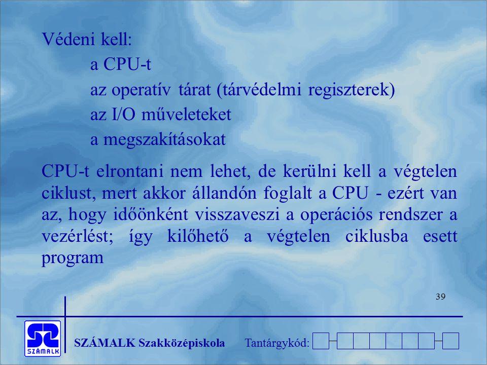 SZÁMALK SzakközépiskolaTantárgykód: 39 Védeni kell: a CPU-t az operatív tárat (tárvédelmi regiszterek) az I/O műveleteket a megszakításokat CPU-t elro