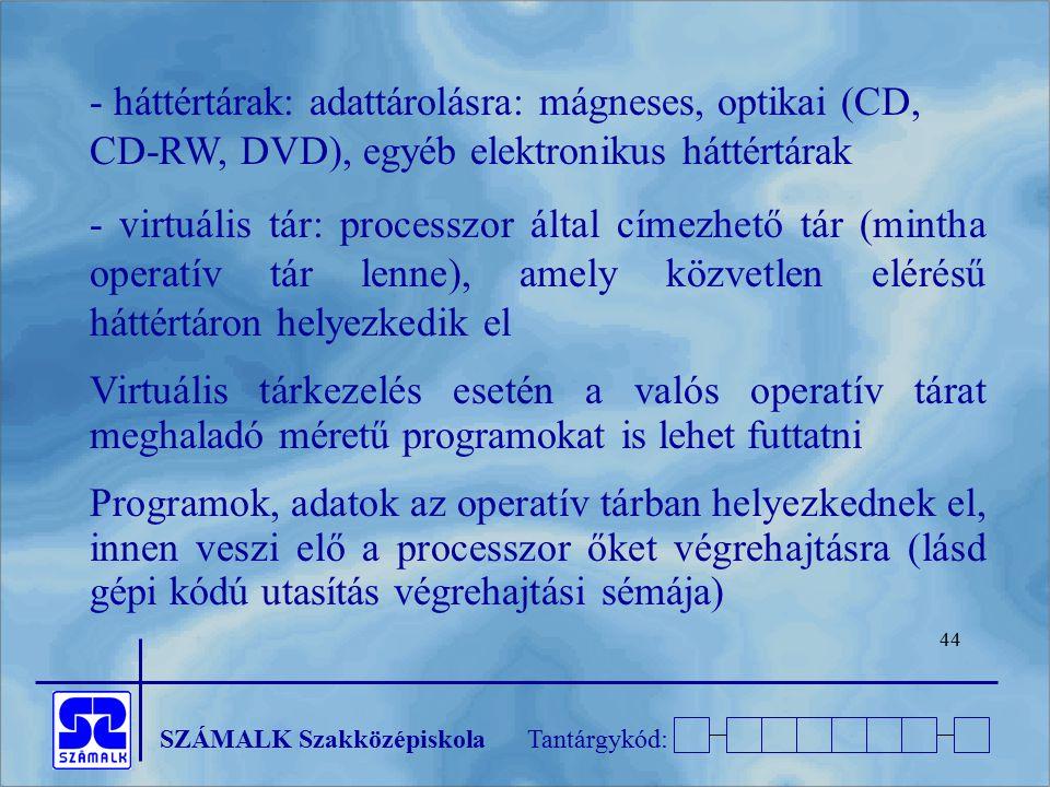 SZÁMALK SzakközépiskolaTantárgykód: 44 - háttértárak: adattárolásra: mágneses, optikai (CD, CD-RW, DVD), egyéb elektronikus háttértárak - virtuális tá