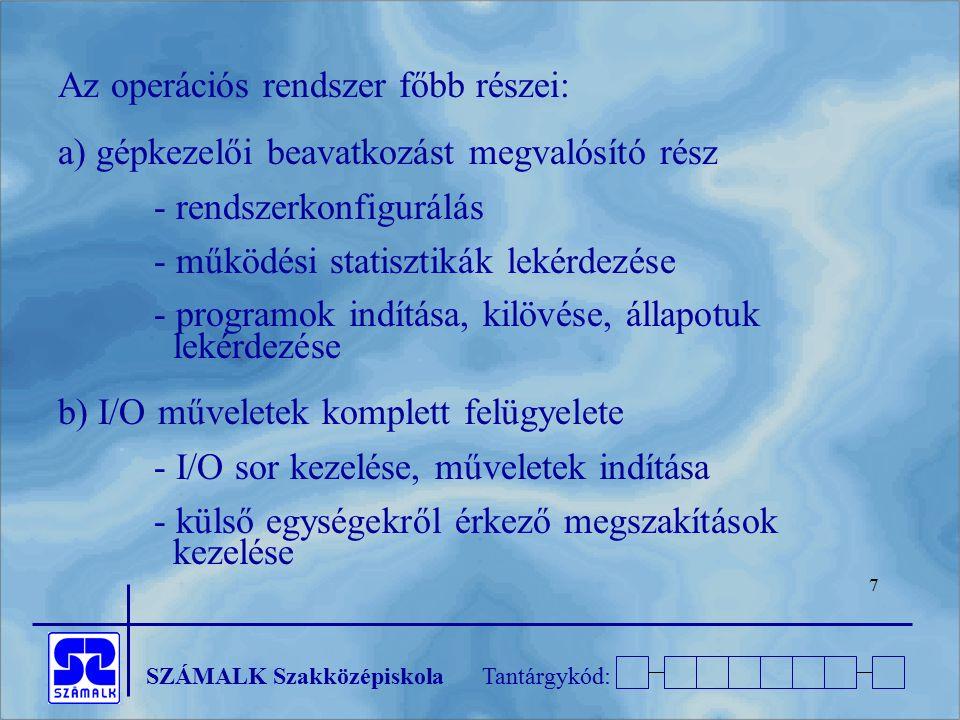 SZÁMALK SzakközépiskolaTantárgykód: 48 3.1.