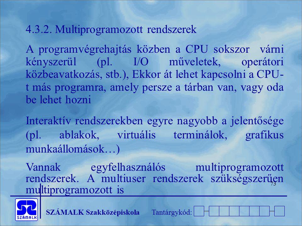 SZÁMALK SzakközépiskolaTantárgykód: 73 4.3.2. Multiprogramozott rendszerek A programvégrehajtás közben a CPU sokszor várni kényszerül (pl. I/O művelet