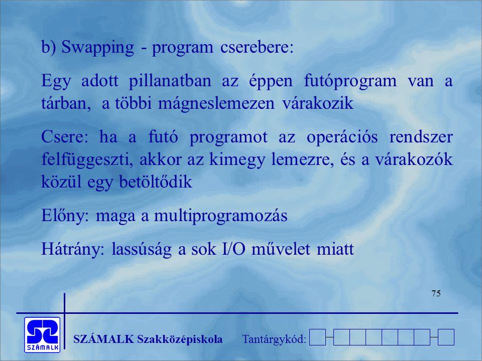 SZÁMALK SzakközépiskolaTantárgykód: 75 b) Swapping - program cserebere: Egy adott pillanatban az éppen futóprogram van a tárban, a többi mágneslemezen