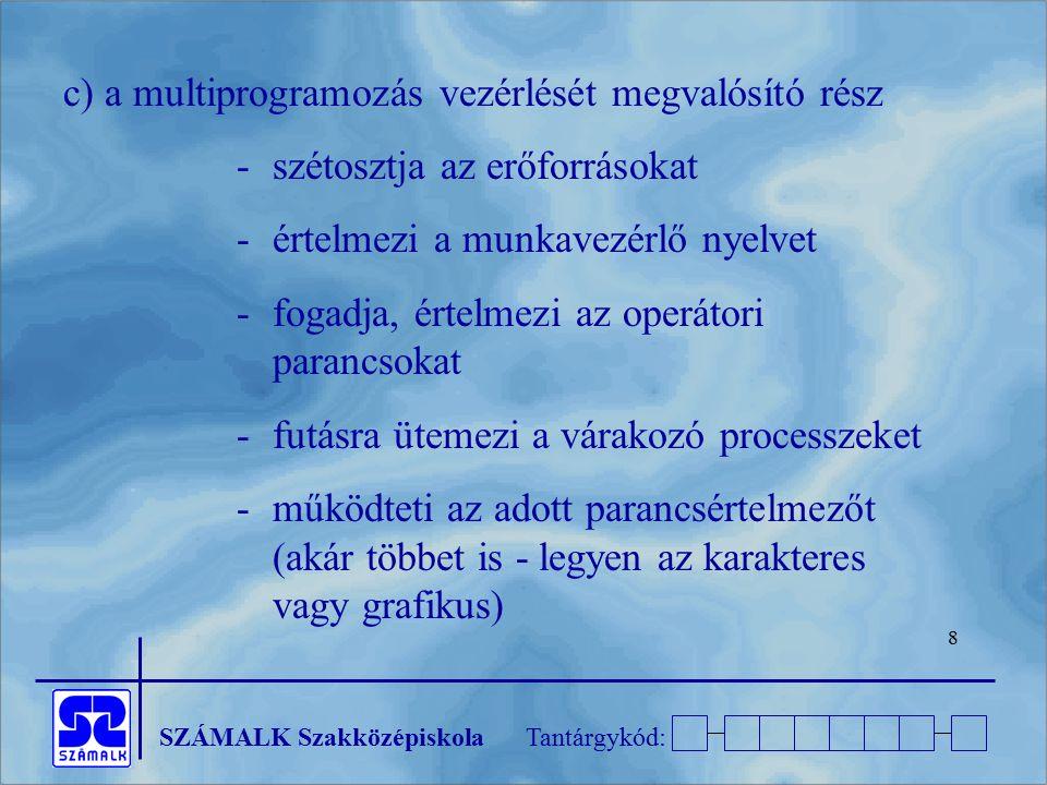 SZÁMALK SzakközépiskolaTantárgykód: 8 c) a multiprogramozás vezérlését megvalósító rész - szétosztja az erőforrásokat - értelmezi a munkavezérlő nyelv
