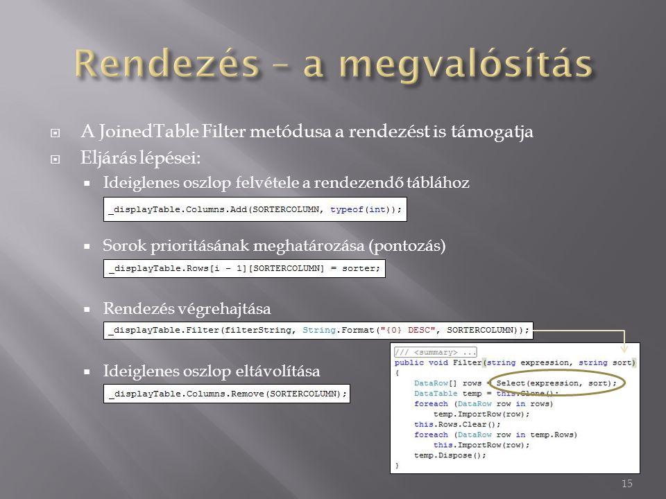  A JoinedTable Filter metódusa a rendezést is támogatja  Eljárás lépései:  Ideiglenes oszlop felvétele a rendezendő táblához  Sorok prioritásának meghatározása (pontozás)  Rendezés végrehajtása  Ideiglenes oszlop eltávolítása 15