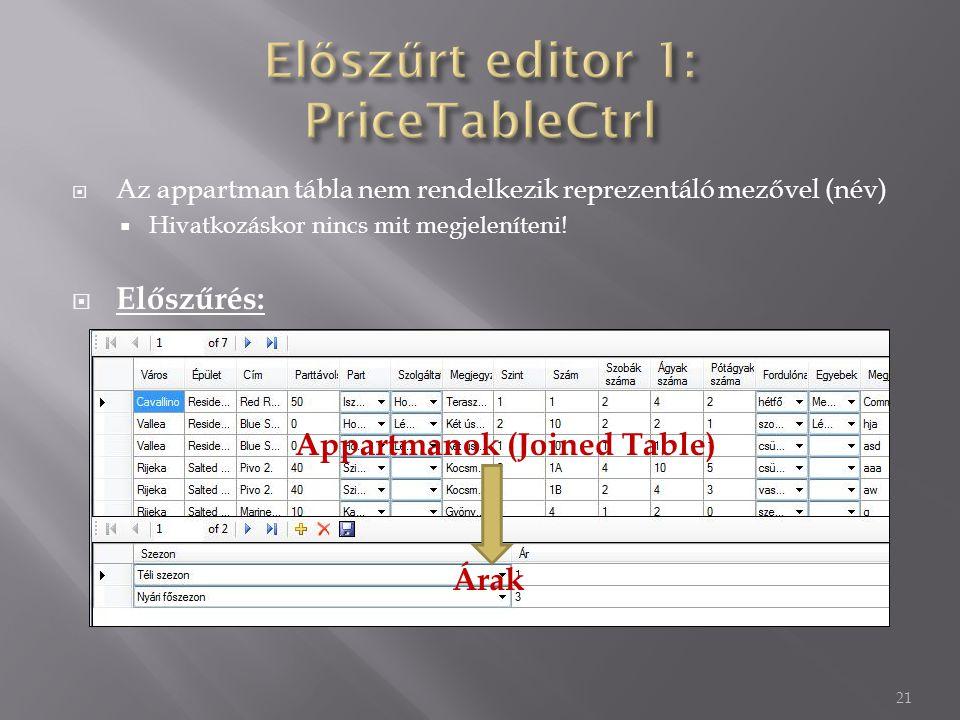  Az appartman tábla nem rendelkezik reprezentáló mezővel (név)  Hivatkozáskor nincs mit megjeleníteni.