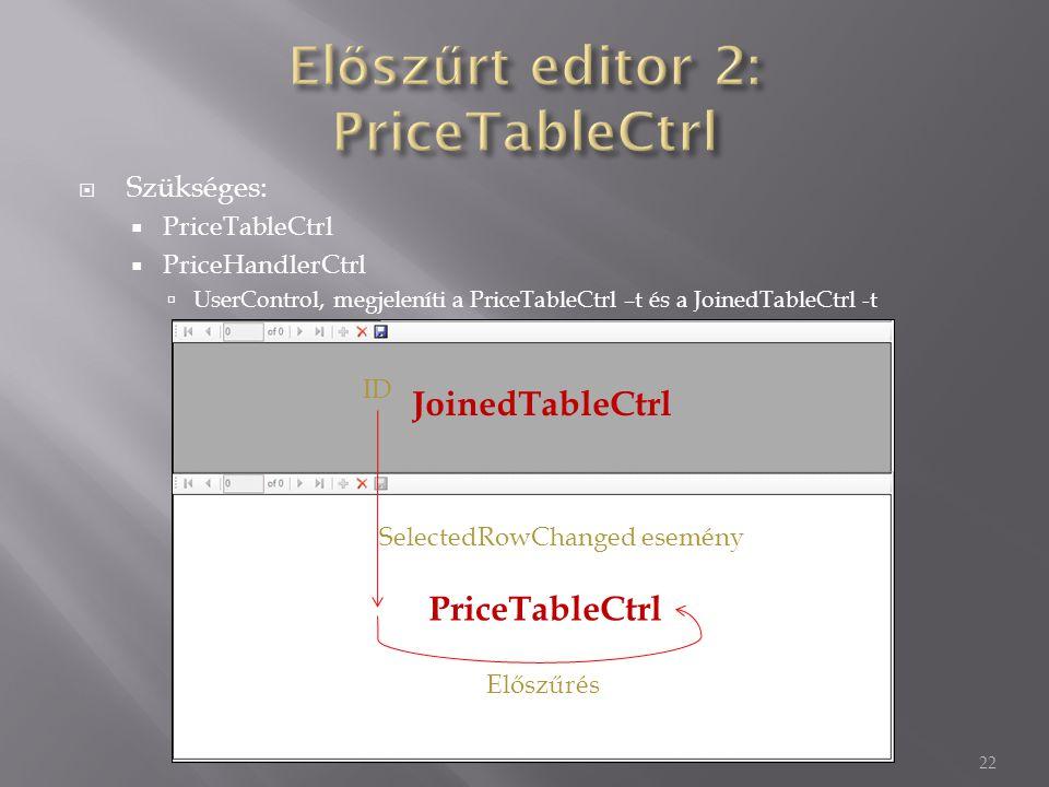  Szükséges:  PriceTableCtrl  PriceHandlerCtrl  UserControl, megjeleníti a PriceTableCtrl –t és a JoinedTableCtrl -t 22 JoinedTableCtrl PriceTableCtrl SelectedRowChanged esemény Előszűrés ID