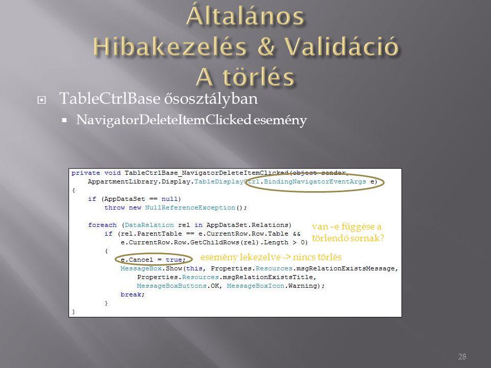  TableCtrlBase ősosztályban  NavigatorDeleteItemClicked esemény 28 van –e függése a törlendő sornak.