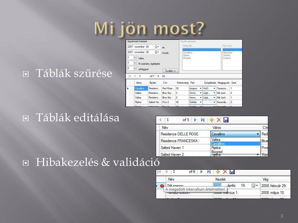 Táblák szűrése  Táblák editálása  Hibakezelés & validáció 3