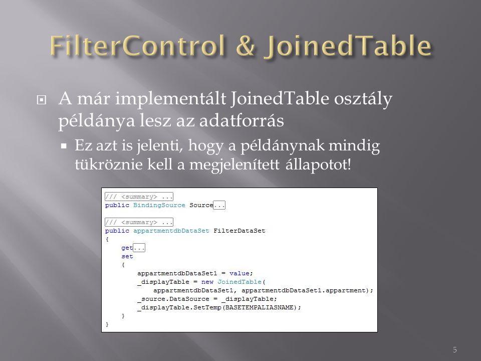  A már implementált JoinedTable osztály példánya lesz az adatforrás  Ez azt is jelenti, hogy a példánynak mindig tükröznie kell a megjelenített állapotot.