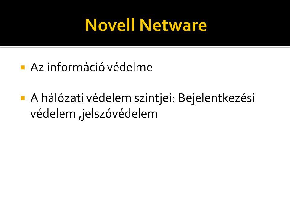  Az információ védelme  A hálózati védelem szintjei: Bejelentkezési védelem,jelszóvédelem