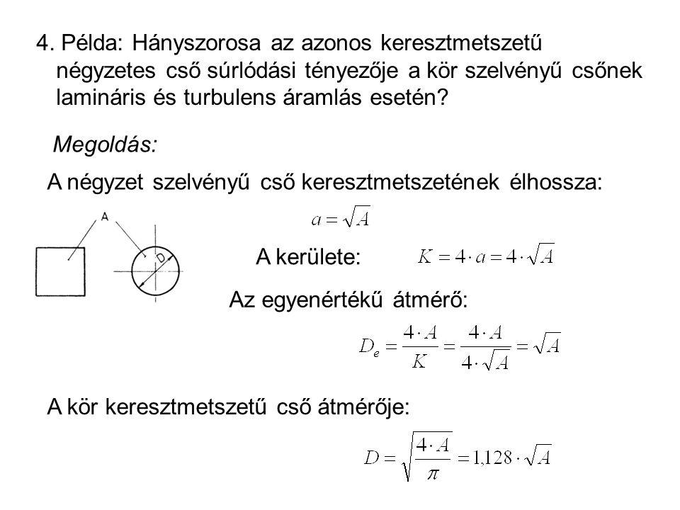 4. Példa: Hányszorosa az azonos keresztmetszetű négyzetes cső súrlódási tényezője a kör szelvényű csőnek lamináris és turbulens áramlás esetén? Megold
