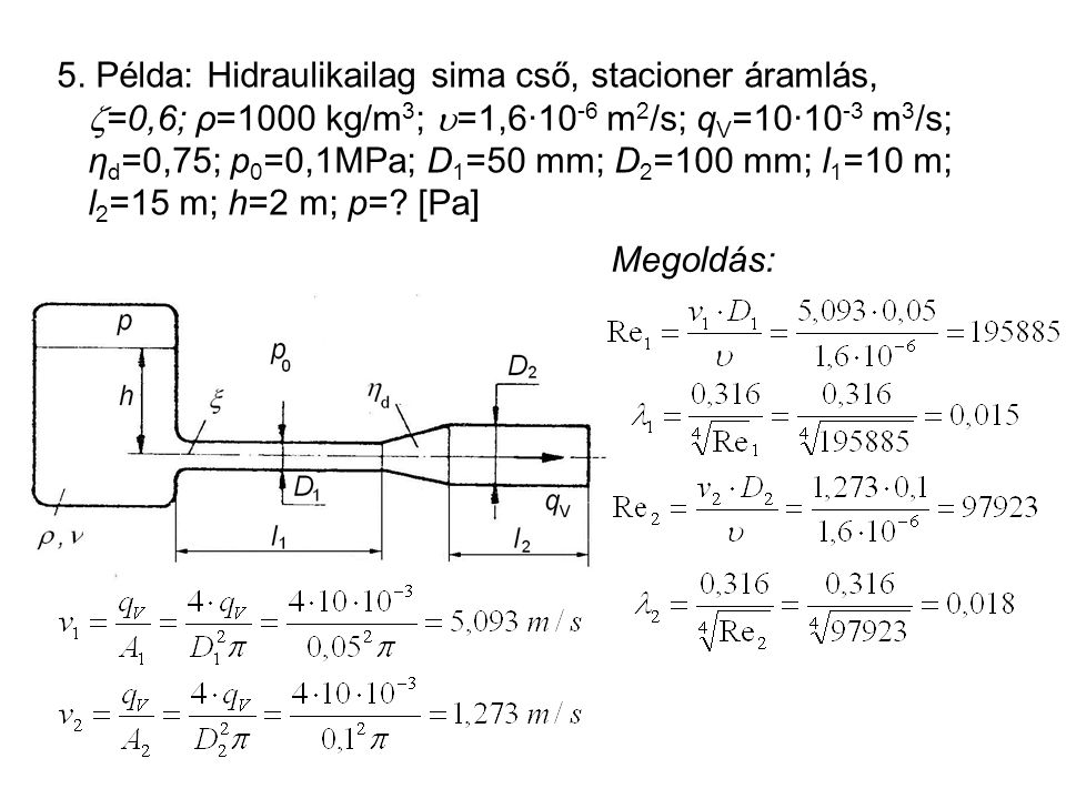 5. Példa: Hidraulikailag sima cső, stacioner áramlás,  =0,6; ρ=1000 kg/m 3 ;  =1,6·10 -6 m 2 /s; q V =10·10 -3 m 3 /s; η d =0,75; p 0 =0,1MPa; D 1 =