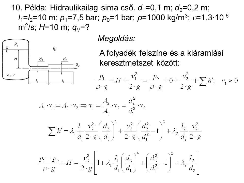 10. Példa: Hidraulikailag sima cső. d 1 =0,1 m; d 2 =0,2 m; l 1 =l 2 =10 m; p 1 =7,5 bar; p 0 =1 bar; ρ=1000 kg/m 3 ;  =1,3·10 -6 m 2 /s; H=10 m; q V