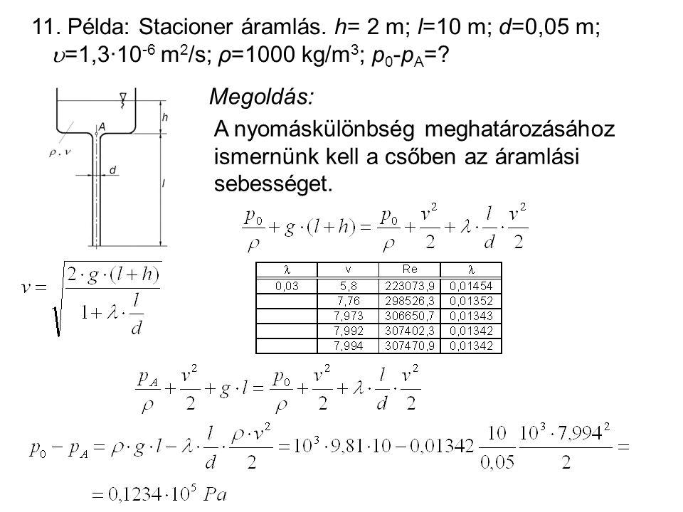 11. Példa: Stacioner áramlás. h= 2 m; l=10 m; d=0,05 m;  =1,3·10 -6 m 2 /s; ρ=1000 kg/m 3 ; p 0 -p A =? Megoldás: A nyomáskülönbség meghatározásához
