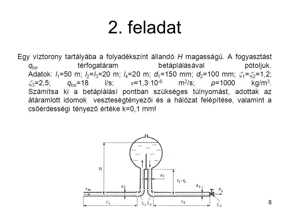2. feladat Egy víztorony tartályába a folyadékszínt állandó H magasságú. A fogyasztást q be térfogatáram betáplálásával pótoljuk. Adatok: l 1 =50 m; l