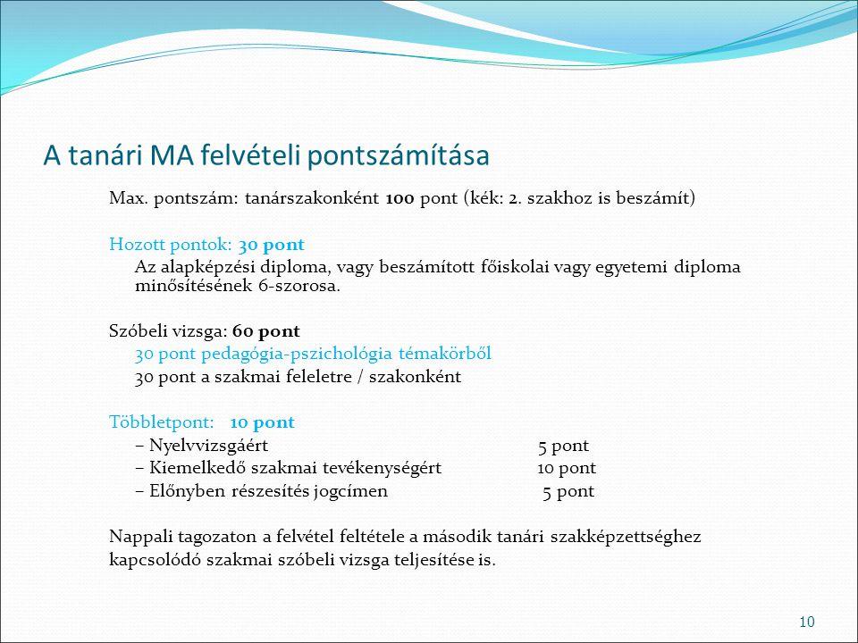 A tanári MA felvételi pontszámítása Max. pontszám: tanárszakonként 100 pont (kék: 2. szakhoz is beszámít) Hozott pontok: 30 pont Az alapképzési diplom