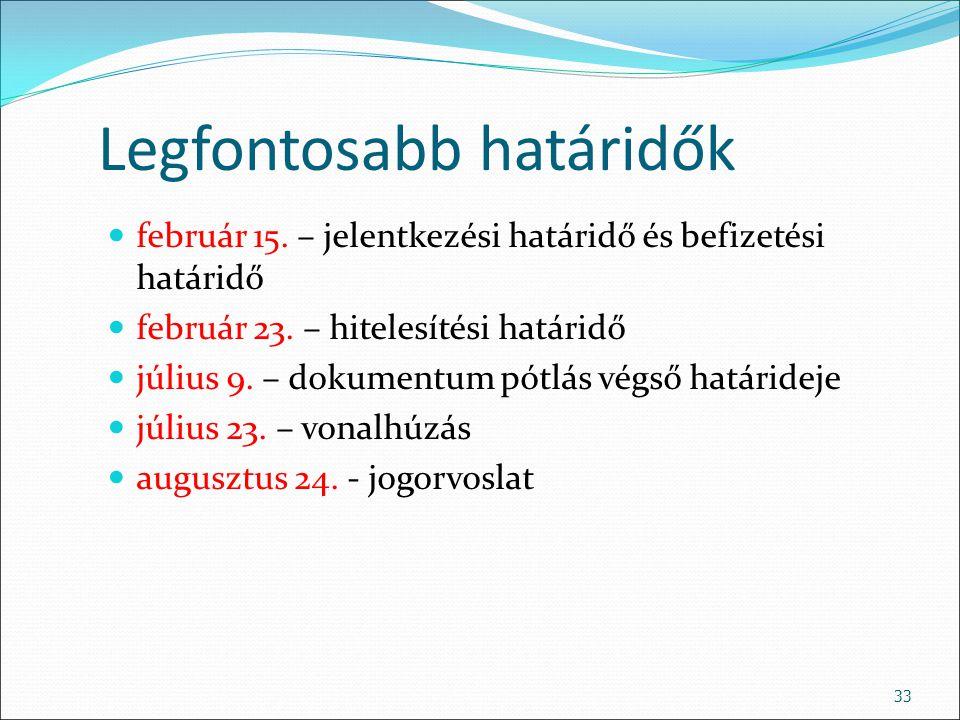 33 Legfontosabb határidők február 15. – jelentkezési határidő és befizetési határidő február 23. – hitelesítési határidő július 9. – dokumentum pótlás