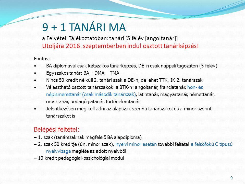 9 + 1 TANÁRI MA a Felvételi Tájékoztatóban: tanári [5 félév [angoltanár]] Utoljára 2016. szeptemberben indul osztott tanárképzés ! 9 Fontos: BA diplom