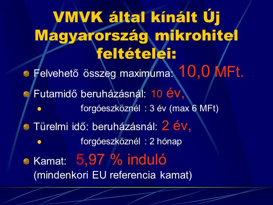 VMVK által kínált Új Magyarország mikrohitel feltételei: Felvehető összeg maximuma: 10,0 MFt.