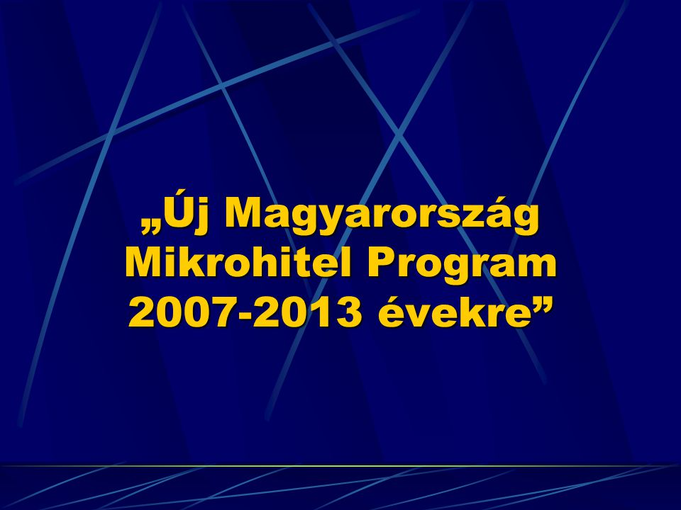 """""""Új Magyarország Mikrohitel Program 2007-2013 évekre"""