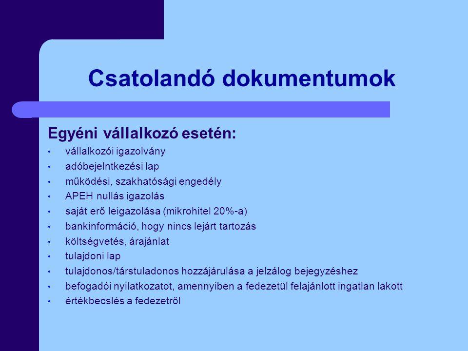 Csatolandó dokumentumok Egyéni vállalkozó esetén: vállalkozói igazolvány adóbejelntkezési lap működési, szakhatósági engedély APEH nullás igazolás saját erő leigazolása (mikrohitel 20%-a) bankinformáció, hogy nincs lejárt tartozás költségvetés, árajánlat tulajdoni lap tulajdonos/társtuladonos hozzájárulása a jelzálog bejegyzéshez befogadói nyilatkozatot, amennyiben a fedezetül felajánlott ingatlan lakott értékbecslés a fedezetről