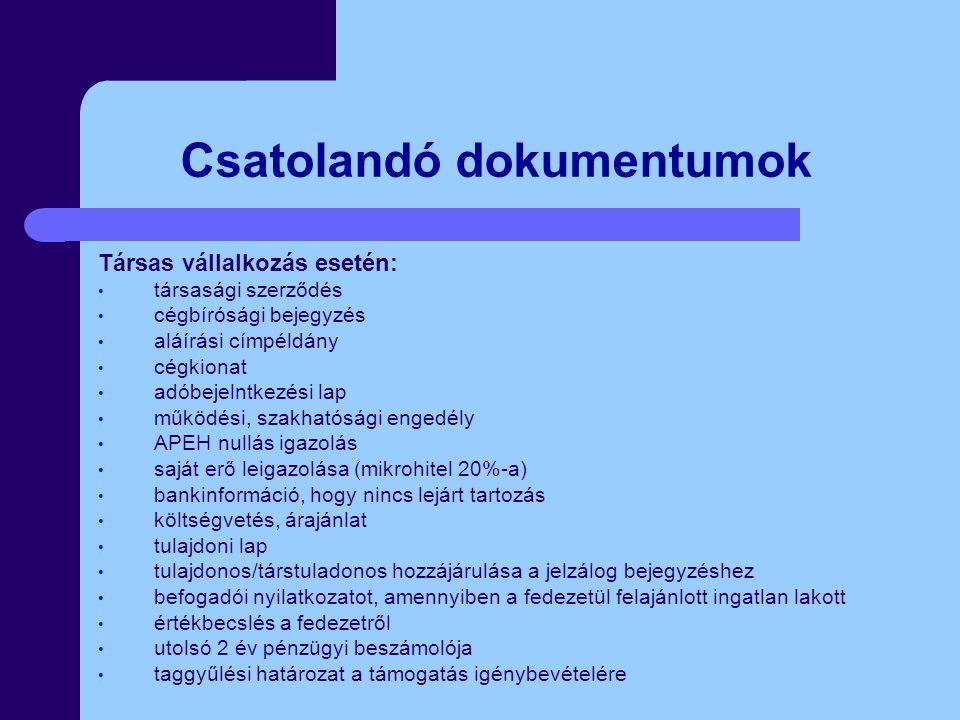 Csatolandó dokumentumok Társas vállalkozás esetén: társasági szerződés cégbírósági bejegyzés aláírási címpéldány cégkionat adóbejelntkezési lap működé