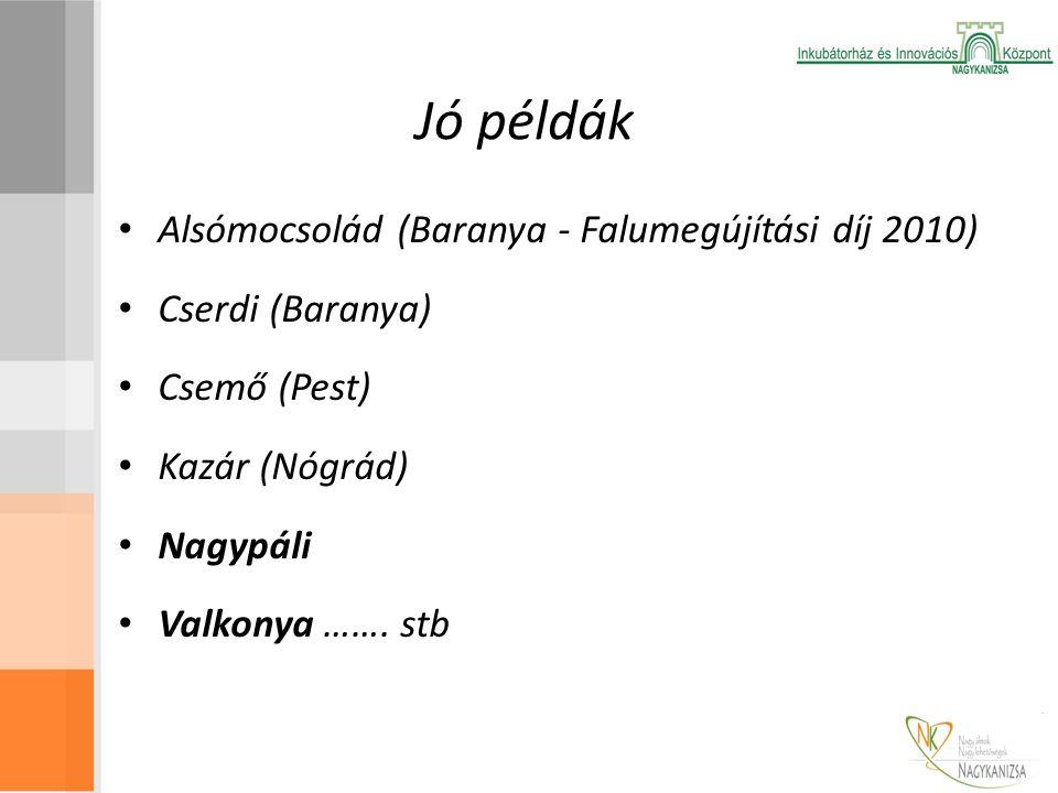 Jó példák Alsómocsolád (Baranya - Falumegújítási díj 2010) Cserdi (Baranya) Csemő (Pest) Kazár (Nógrád) Nagypáli Valkonya ……. stb