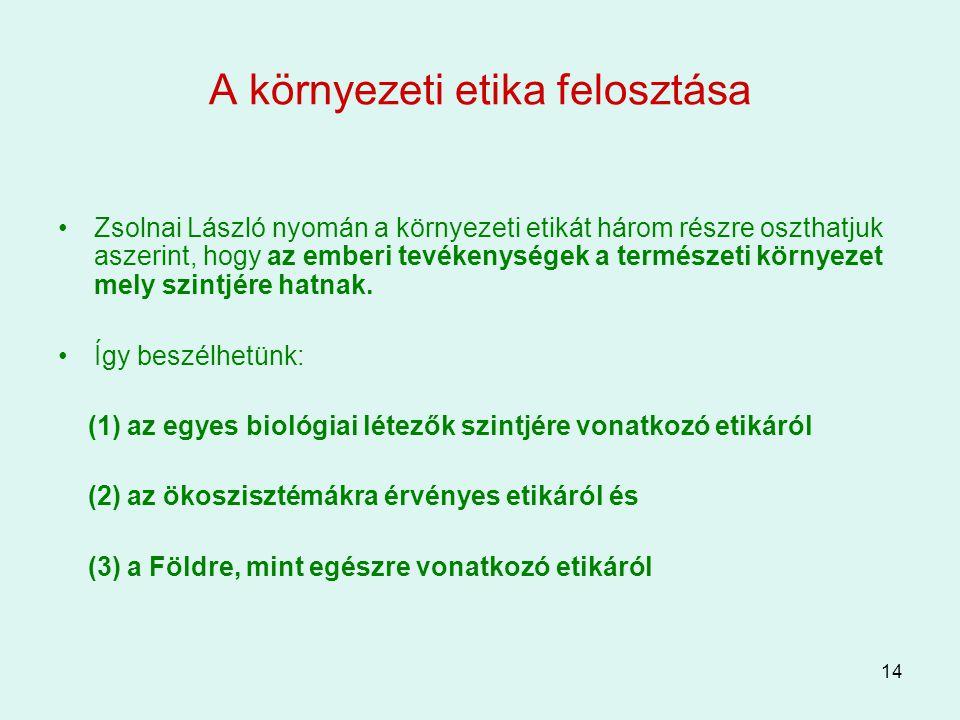 14 A környezeti etika felosztása Zsolnai László nyomán a környezeti etikát három részre oszthatjuk aszerint, hogy az emberi tevékenységek a természeti