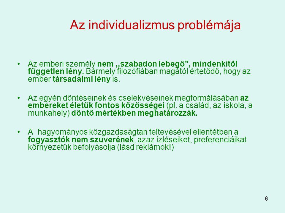 6 Az individualizmus problémája Az emberi személy nem,,szabadon lebegő